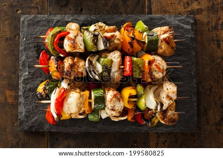 Homemade Chicken Shish Kabobs with Peppers and Onions - stock photo
