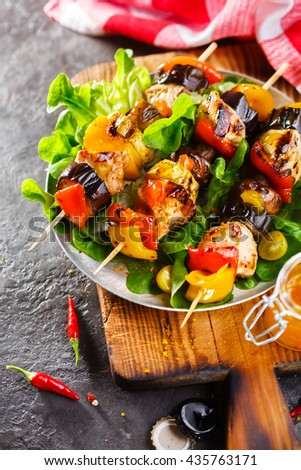 Homemade Chicken Shish Kabobs with Peppers and Vegetables - stock photo