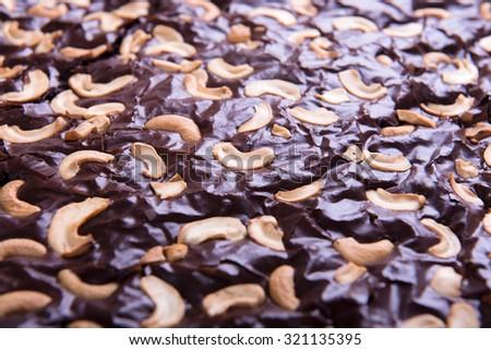 homemade chocolate brownie. - stock photo