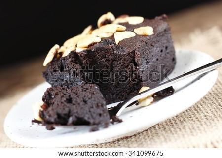 homemade chocolate brownie in spoon  - stock photo