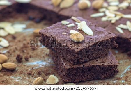 Homemade Chocolate Brownies with almonds - stock photo