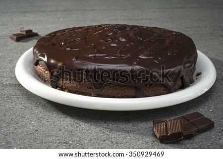 homemade chocolate cake on table