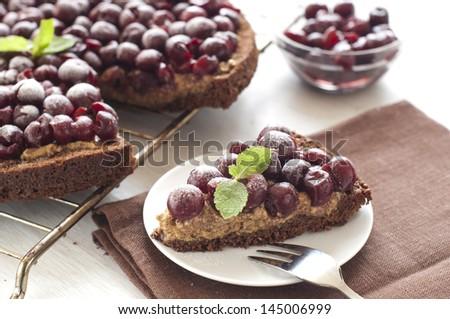 homemade chocolate cherry tart - stock photo