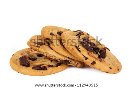 homemade chocolate chip cokies isolated on white background - stock photo