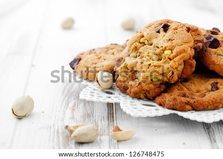 Homemade chocolate chip cookies with pistachios - stock photo
