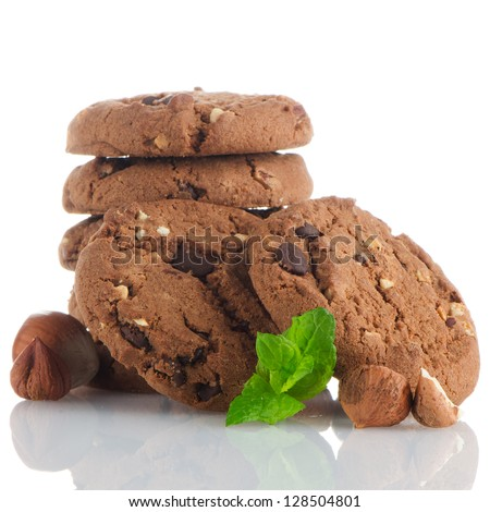Homemade chocolate cookies isolated on white background. - stock photo