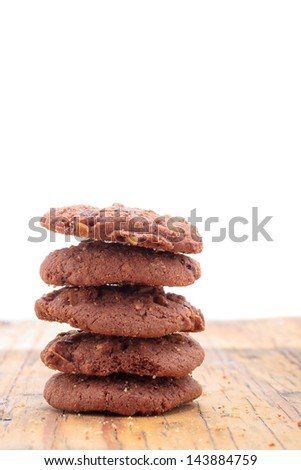 Homemade Chocolate cookies on a wooden plank - stock photo