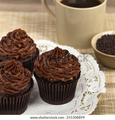 Homemade Chocolate Cupcakes. Selective focus. - stock photo