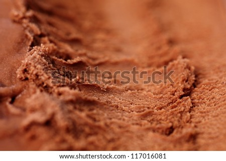 Homemade chocolate ice cream with trace of ice scoop