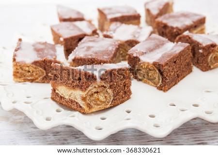 Homemade Chocolate Roll Sweet Dessert - stock photo