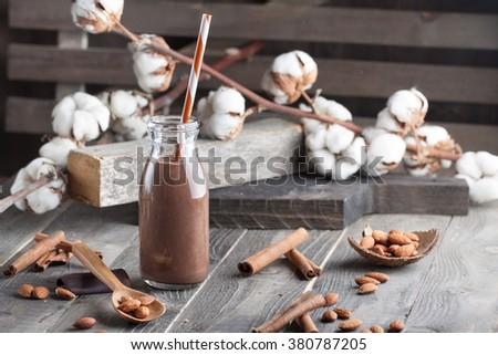 Homemade chocolate smoothie with almond milk and cinnamon - stock photo