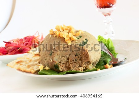 Homemade chopped chicken livers for your Passover seder - stock photo