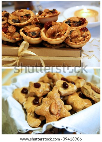 Homemade Christmas and NewYear pastry gifts - traditional mince pies and cookies - stock photo