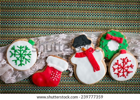Homemade christmas cookies  - stock photo