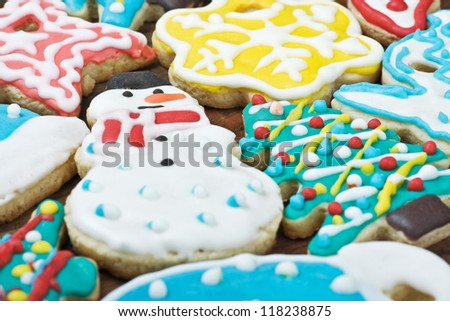 homemade christmas cookies covered with colored glaze
