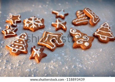 Homemade christmas cookies - gingerbread. All brightly colored cookies.
