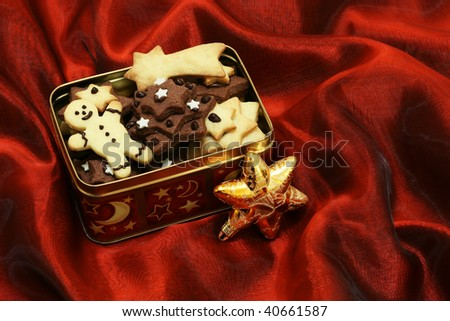 Homemade christmas cookies in a box with copy space - stock photo
