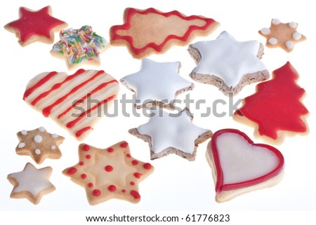 Homemade Christmas cookies on white. - stock photo