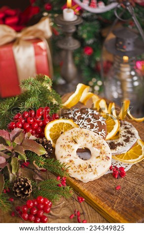 Homemade christmas gingerbread cookies and christmas decoration  - stock photo