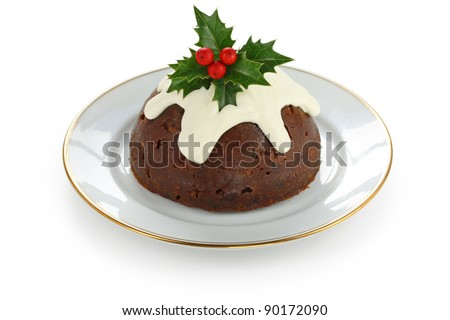homemade christmas pudding - stock photo