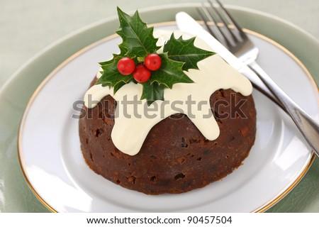homemade christmas pudding - stock photo