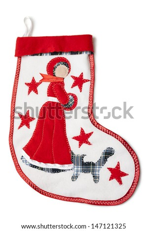 Homemade christmas sock with a snow-princess with stitch cat, shawl and red star on a white background. - stock photo