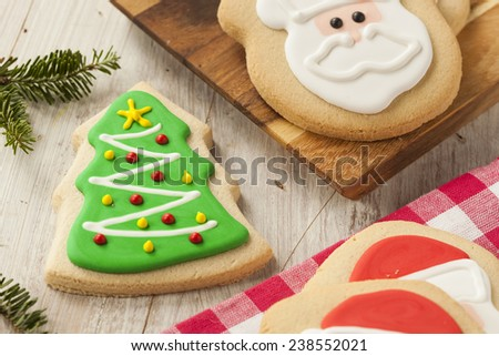 Homemade Christmas Sugar Cookies Decorated with Frosting - stock photo