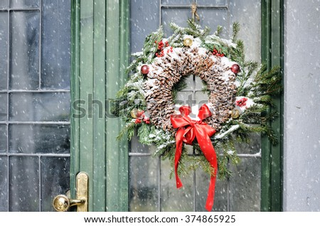 homemade christmas wreath - stock photo