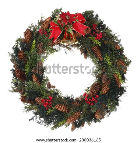 Homemade Christmas Wreath on white background - stock photo