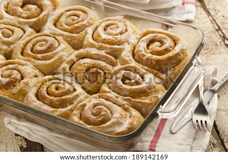 Homemade Cinnamon Roll Sticky Buns with Icing - stock photo