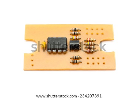 Homemade Circuit Board with Components. - stock photo