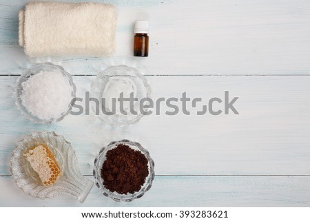 Homemade coffee scrub with sea salt, honey, cream base, essential oil - stock photo