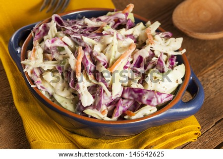 Homemade Coleslaw with Shredded Cabbage, Carrot, and Lettuce - stock photo