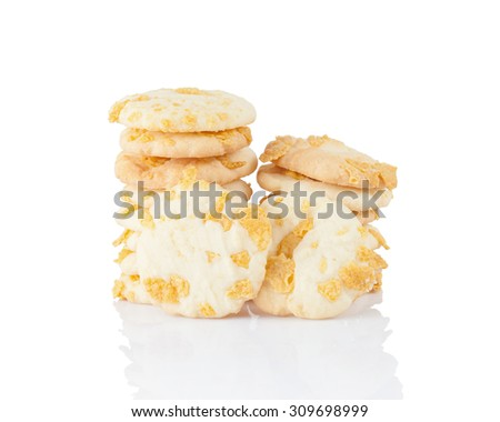 homemade cookie with corn   flakes on white background - stock photo