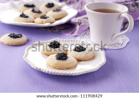 Homemade cookie with jam and tea - stock photo