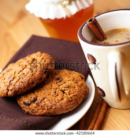 Homemade cookies and coffee with milk