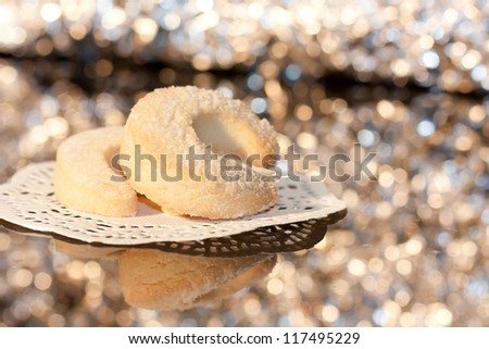 homemade cookies on sparkly background