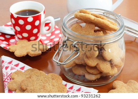 Homemade cookies or shortbread with espresso coffee - stock photo