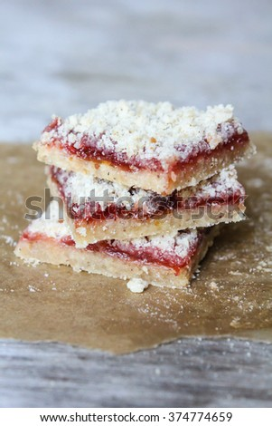 Homemade cookies with berry jam and streusel, selective focus - stock photo