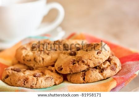 Homemade cookies with chocolate and coffee - stock photo