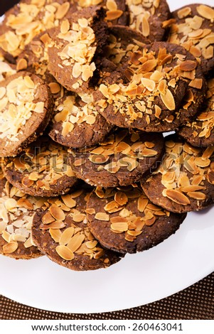 Homemade cookies with hazelnuts and chocolate