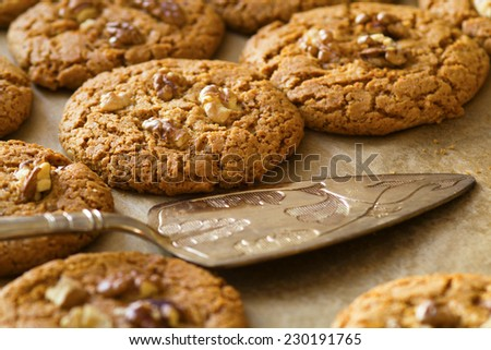 homemade cookies with walnuts - stock photo