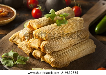 Homemade Corn and Chicken Tamales Ready to Eat - stock photo