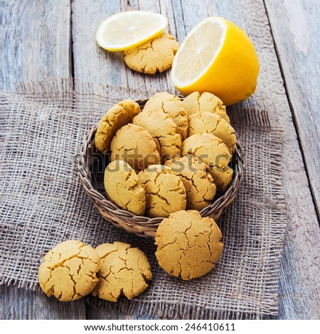 homemade corn biscuits with lemon  - stock photo