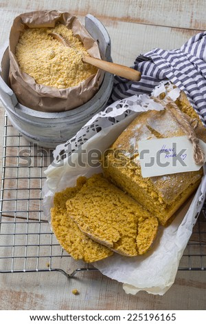 Homemade Corn Bread Vertical - stock photo