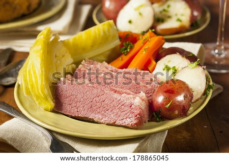 Homemade Corned Beef and Cabbage with Potatoes and Carrots - stock ...