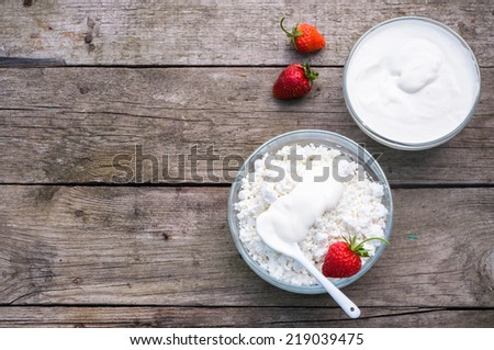 Homemade cottage cheese, selective focus - stock photo