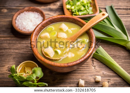 Homemade creamy leek soup in a bowl - stock photo