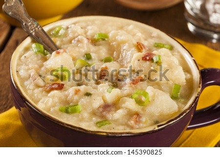 Homemade Creamy Potato Soup with Bacon and Green Onion