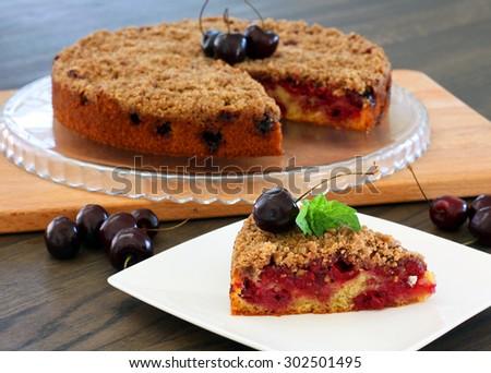 Homemade crumble cherry pie - stock photo